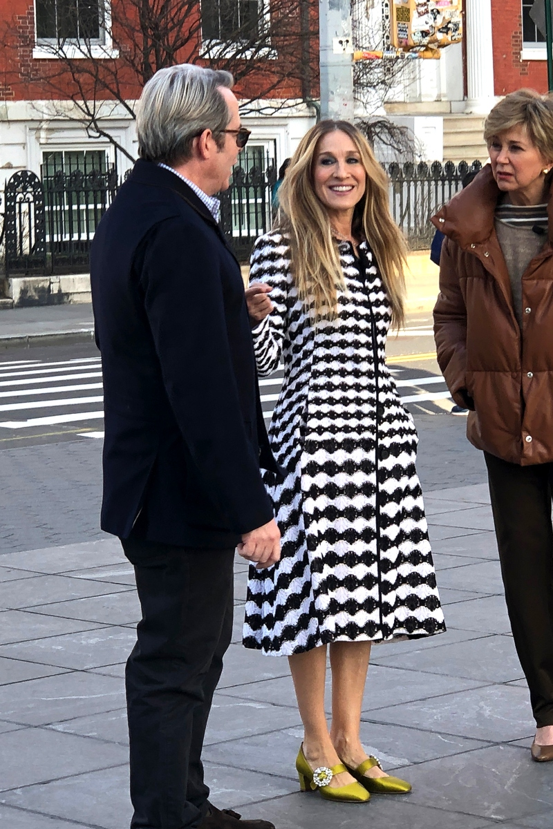 sarah jessica parker, sjp, matthew broderick, green heels, black and white dress, new york