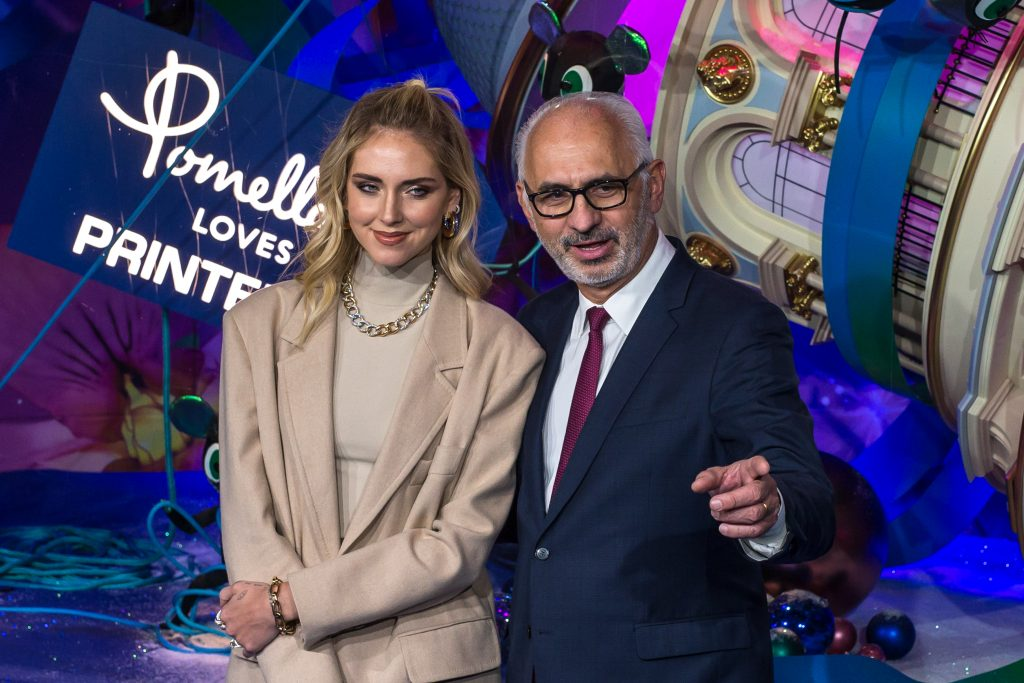 Italian fashion blogger Chiara Ferragni (L) and Printemps store CEO Paolo De Cesare (R) pose during the annual launch of the Printemps department store Christmas windows display in Paris, France, 07 November 2019.Printemps store showcases Christmas window, Paris, France - 07 Nov 2019