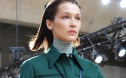 Bella Hadid opened the Lacoste show.