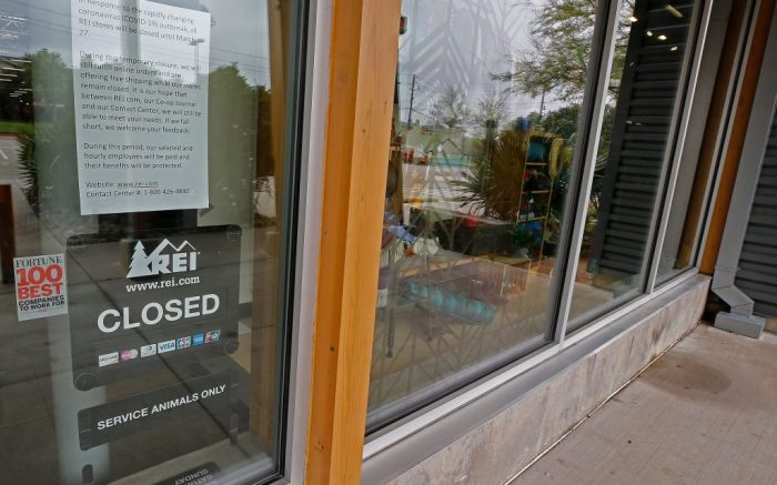 A closed REI store in Dallas, Texas, USA, 16 March 2020. REI announced it would close all 162 of it's retail stores until 27 March 2020 in effort to fight the spread of the COVID-19 coronavirus.REI outdoor stores are closing all 162 retail stores nationwide., Dallas, USA - 16 Mar 2020