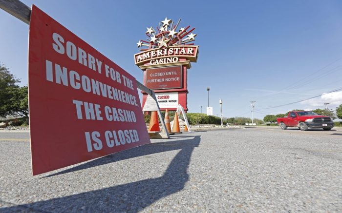 Traffic passes the closed Ameristar Casino in Vicksburg, Miss., . All of Mississippi's state-regulated casinos were ordered closed by midnight Monday to limit the spread of the new coronavirusVirus Outbreak Mississippi, Vicksburg, United States - 17 Mar 2020
