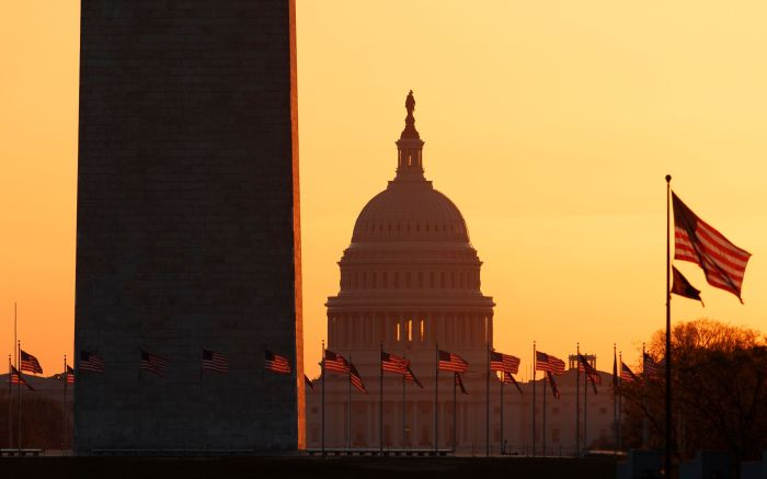 The Washington Monument and the U.S. Capitol are seen in Washington, at sunrise . The White House has sent Congress an emergency $46 billion spending request for coronavirus-related funding this yearVirus Outbreak Congress, Washington, United States - 18 Mar 2020