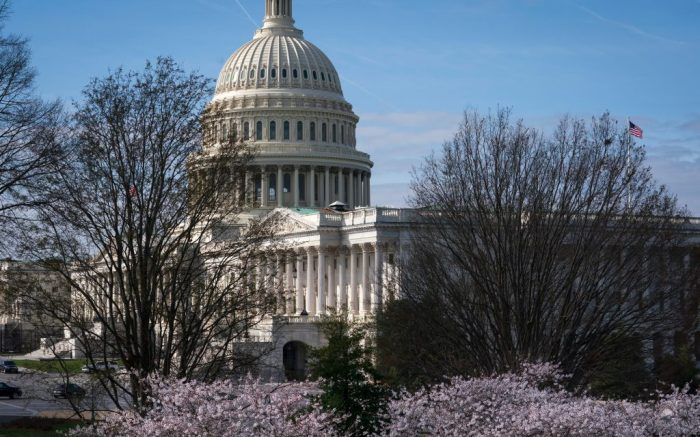 The Capitol is seen as lawmakers negotiate on the emergency coronavirus response legislation, at the Capitol in WashingtonVirus Outbreak Congress, Washington, United States - 18 Mar 2020