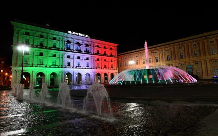 The palace of Liguria region in the De Ferrari square is illuminated with the tricolor lights of the Italian flag, in a national tribute amid the coronavirus epidemic in Genoa, Italy, 21 March 2020. The number of deaths from the pandemic COVID-19 disease caused by the SARS CoV-2 coronavirus in Italy has now surpassed the death toll for all of China, where the outbreak originated. Countries around the world are taking increased measures to prevent the wide spread of the Coronavirus.De Ferrari square in Genoa illuminated in tricolor of the Italian, Italy - 20 Mar 2020