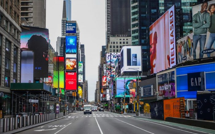 Manhattan streets are near empty during the Coronavirus COVID19 pandemic in New York in the United States.Coronavirus outbreak, New York, USA - 25 Mar 2020