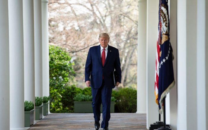 United States President Donald Trump walks on the Colonnade from the Oval Office to begin his daily Coronavirus press conference in the Rose Garden of the White HouseCoronavirus press conference, Washington DC, USA - 29 Mar 2020