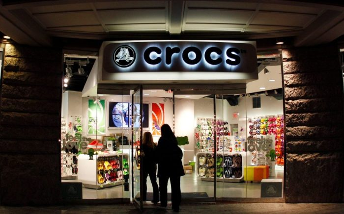 Shoppers enter a Crocs store in BostonRetail Sales, Boston, USA
