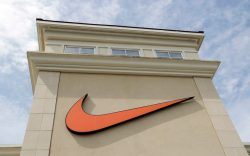 A Nike logo is displayed outside