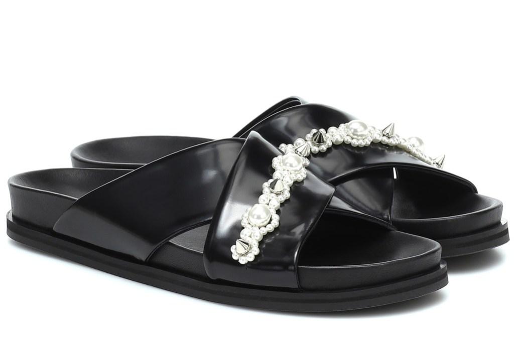 Simone Rocha Spring '20 Embellished leather sandals, black sandals, socks and sandals combo