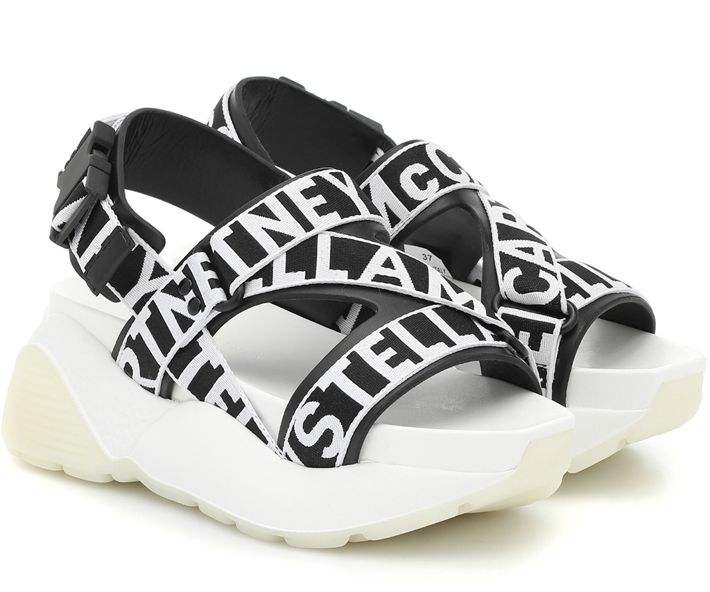 Stella McCartney Faux-leather logo sandals, socks and sandals, black and white