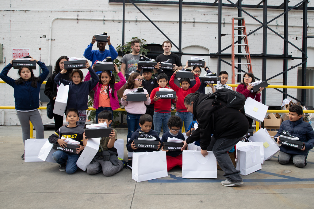 Children from the Boys & Girls Club Hollywood outside The Laboratory, lab