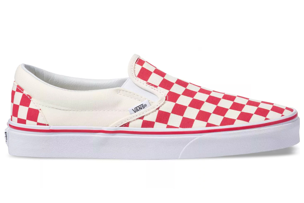 vans, slip-on, sneaker, red, checkerboard, picnic table