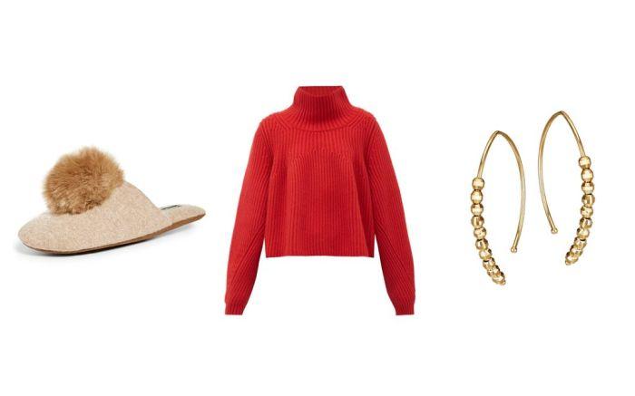 work from home, fashion, minnie rose, slippers, turtleneck, khaite, mizuki earrings