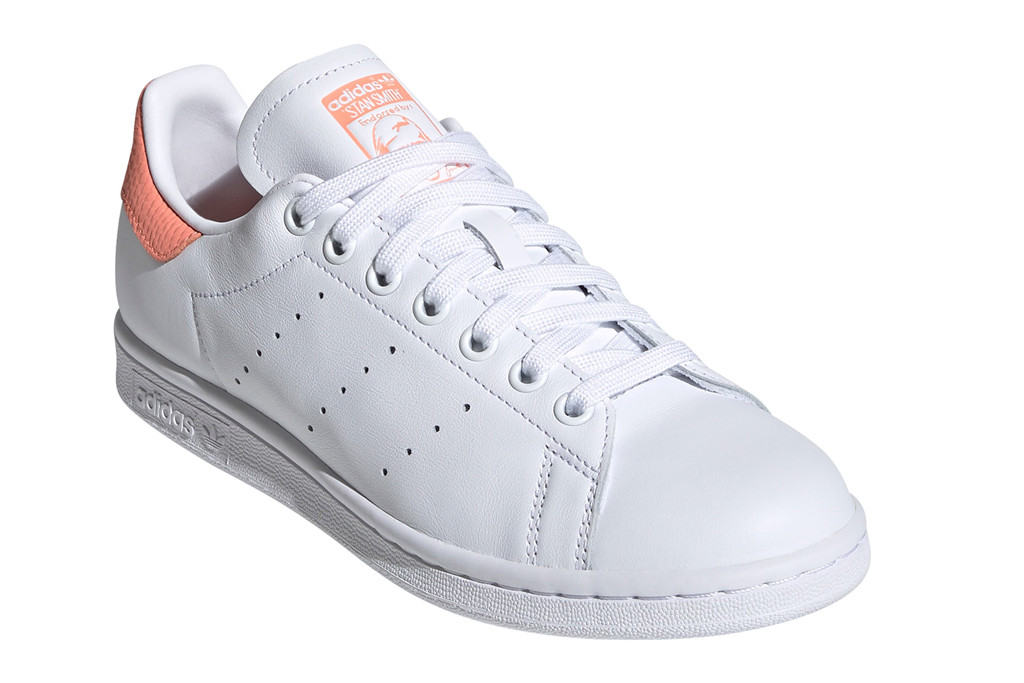 adidas, stan smith, sneakers, white, coral