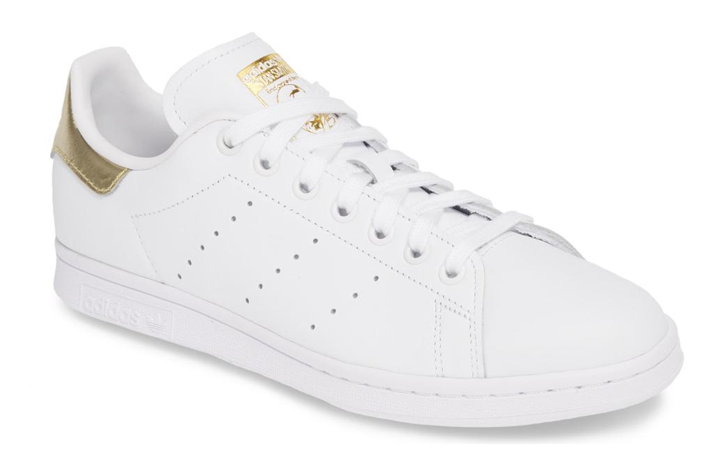 adidas, stan smith, sneakers, white, gold