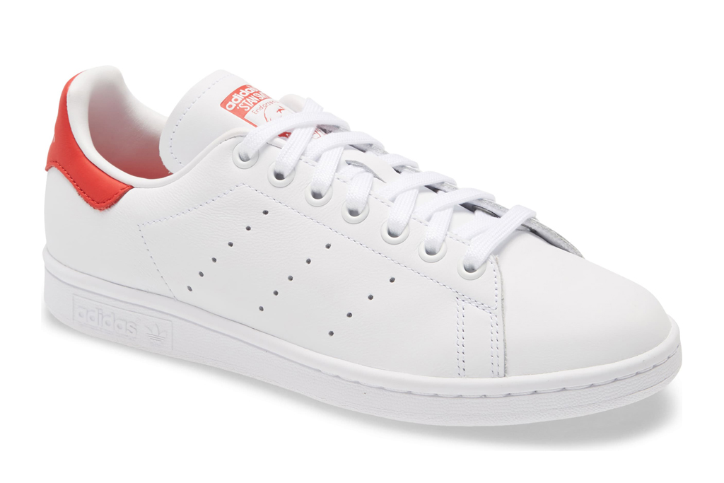 adidas, stan smith, sneakers, white, red