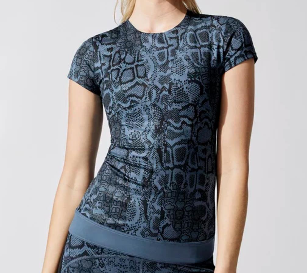 adidas, stella mccartney, shirt, snakeskin, blue