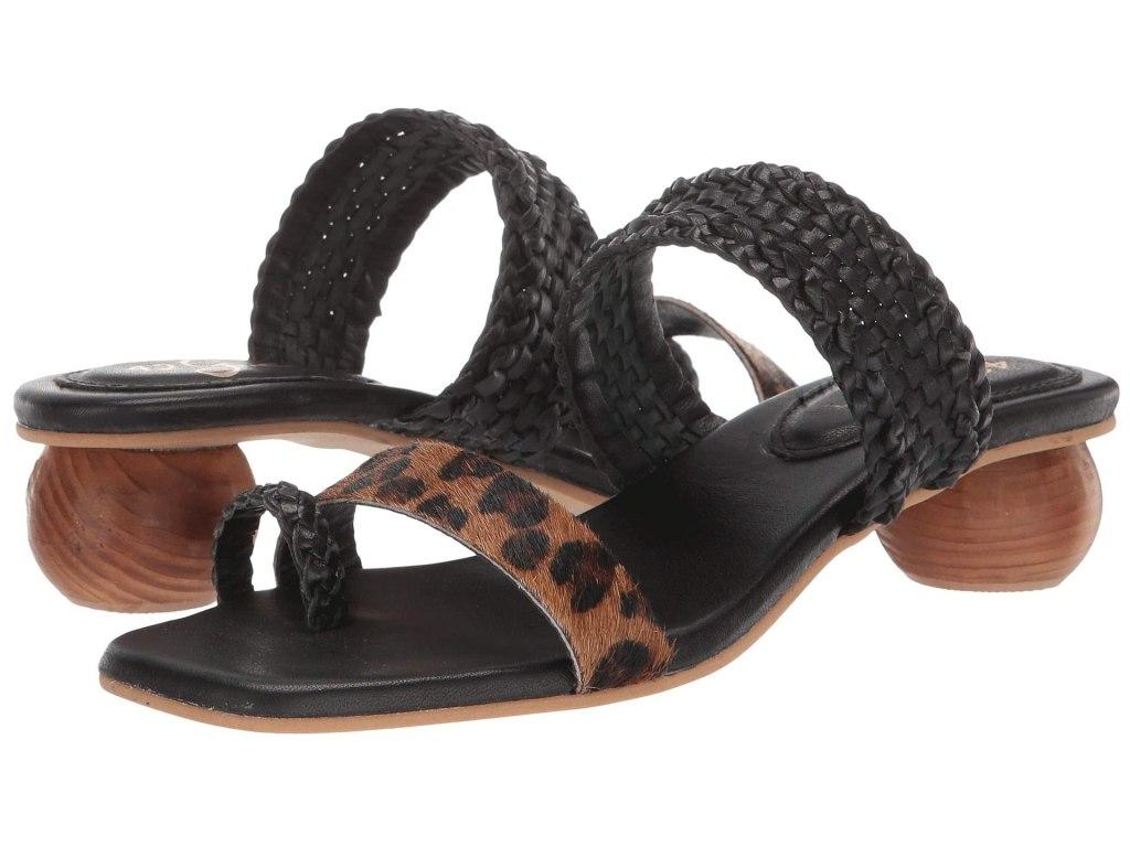 animal print sandals, tiger king style, 42 gold naya sandals