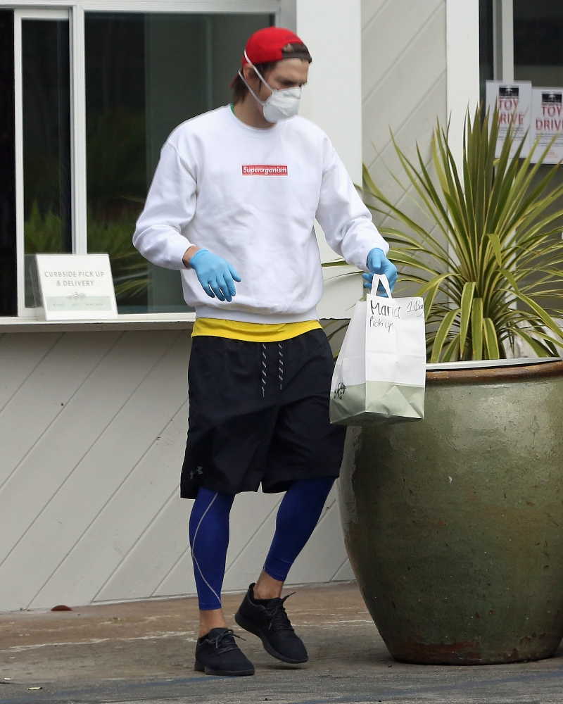 ashton kutcher, allbirds, sneakers, black, food, sweatshirt, leggings