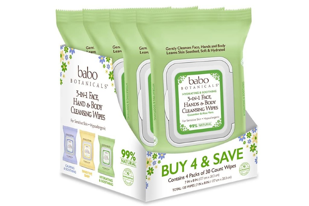 Babo Botanicals 3-in-1 Face, Hand & Body Wipes