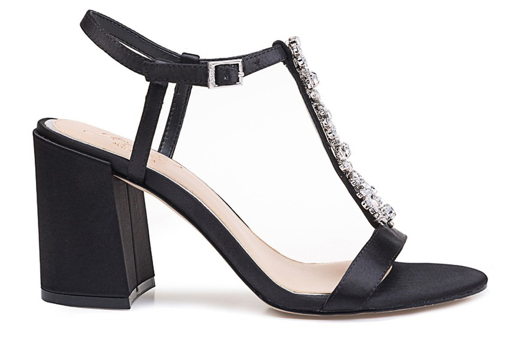Jewel Badgley Mischka Raina Embellished T-Strap Block Heel Sandal