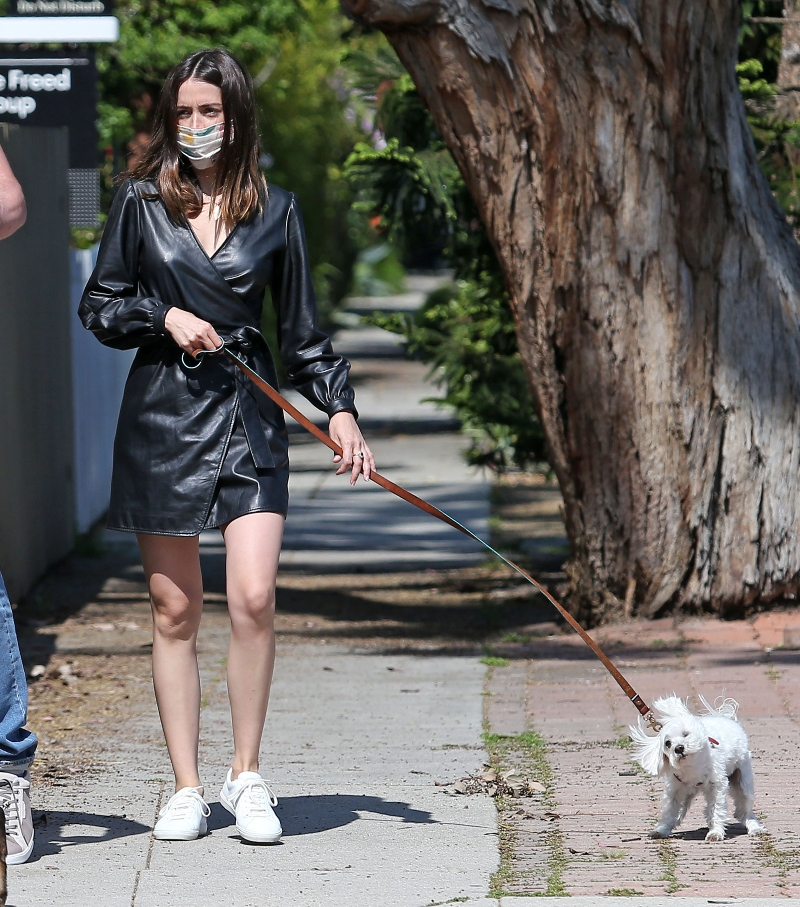 anna de armas, ben affleck, t-shirt, jeans, kenneth cole, dogs, leather dress, maje, walk, white sneakers