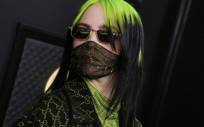 billie eilish, billie eilish grammys, face mask, coronavirus pandemic face mask, fashion face mask