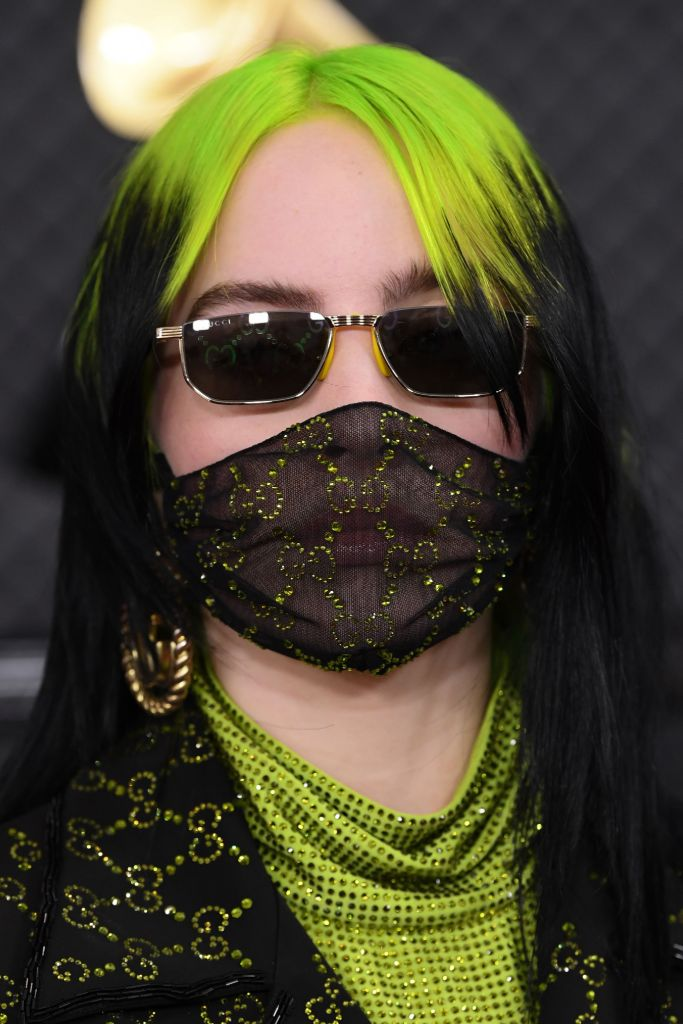 billie eilish, billie eilish face mask, fashion face mask, billie eilish gucci, billie eilish gucci mask