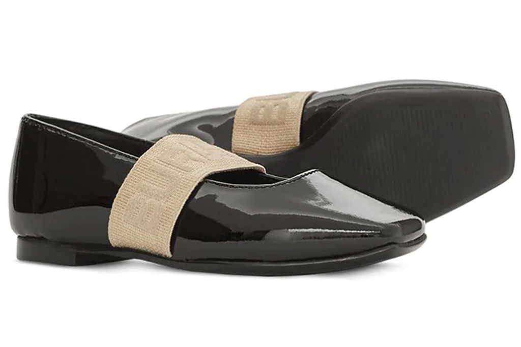 BURBERRY KIDS elasticated strap squared toe ballerinas