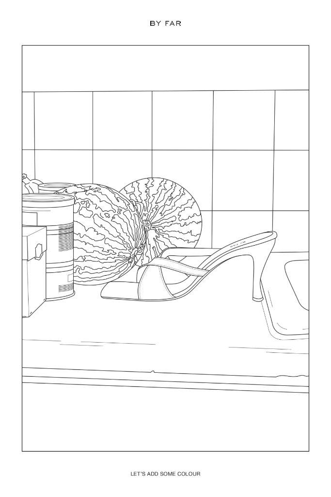 by far, coloring sheet, by far tanya sandal