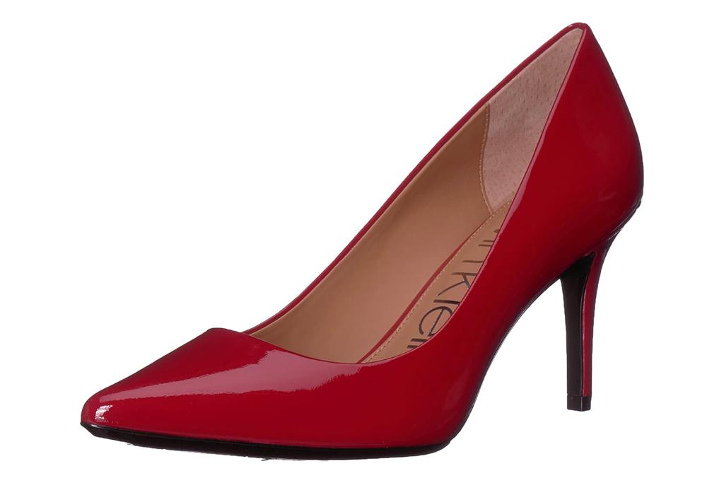 calvin klein, red heels, patent red, pumps