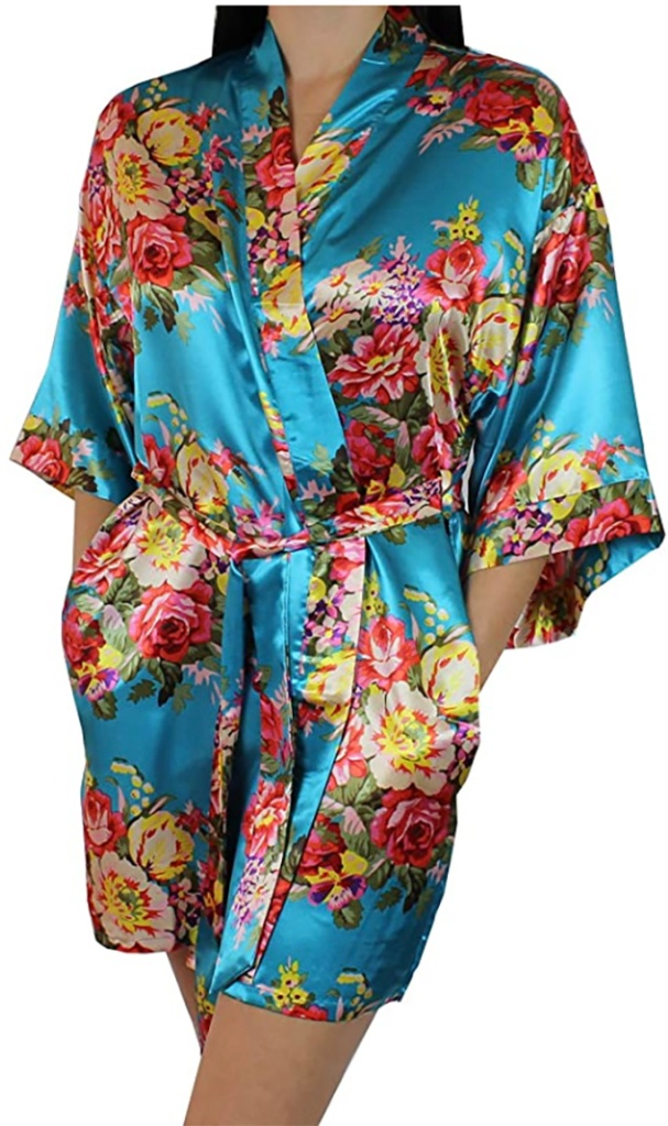 Amazon, carrie bradshaw work from home style, floral bridesmaid robe