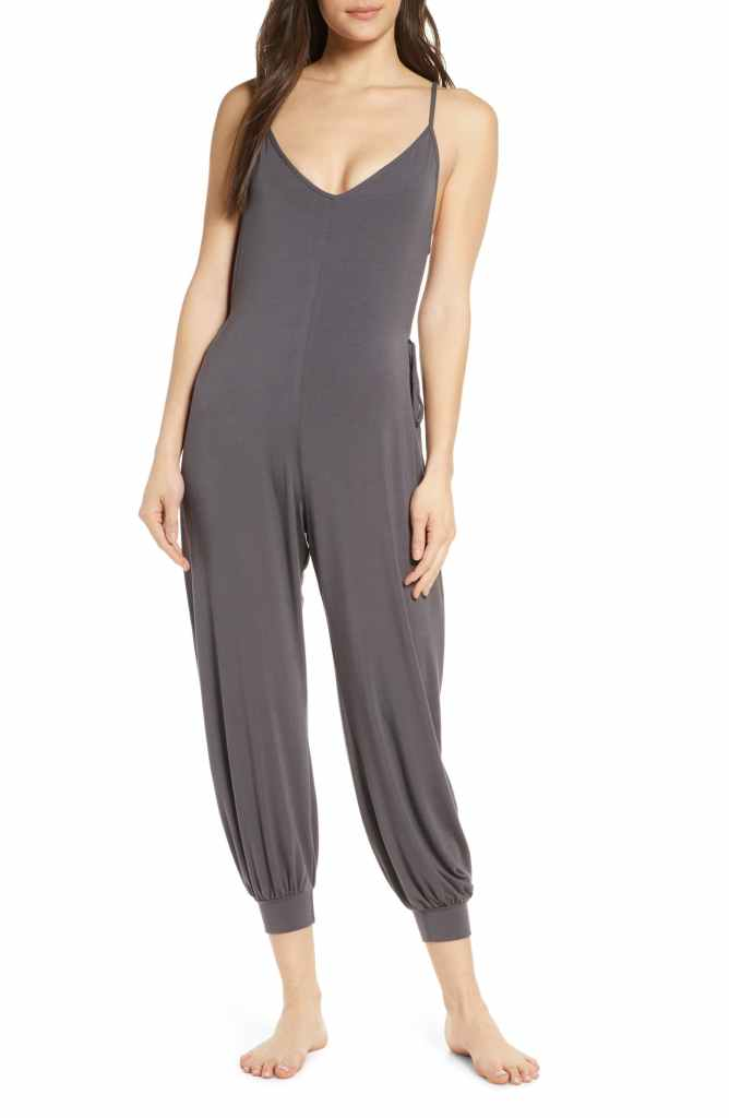 carrie bradshaw wfh style, grey jumpsuit, nordstrom loungewear