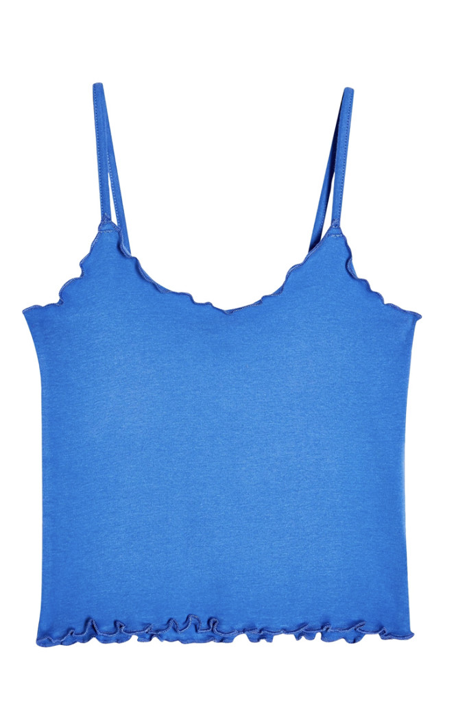 carrie bradhsaw, wfh style, blue topshop cami
