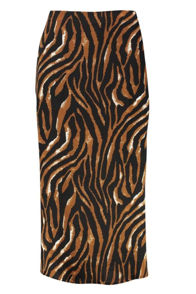 carrie bradshaw wfh style, tiger print, skirt
