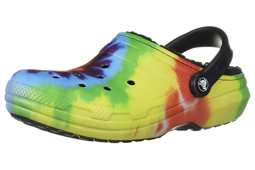 crocs, slippers, tie-dye