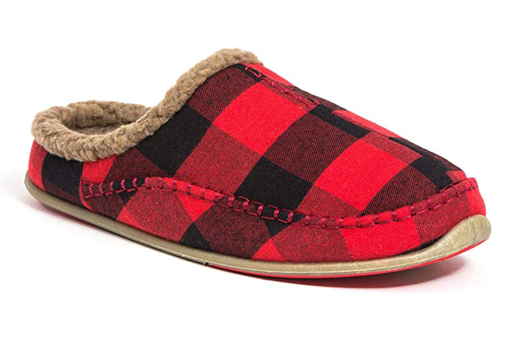 deer stags, slippers, red, plaid, men