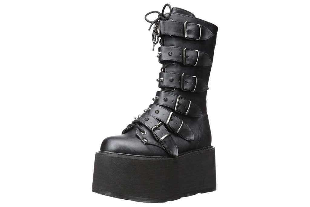 demonia, platform boots, black