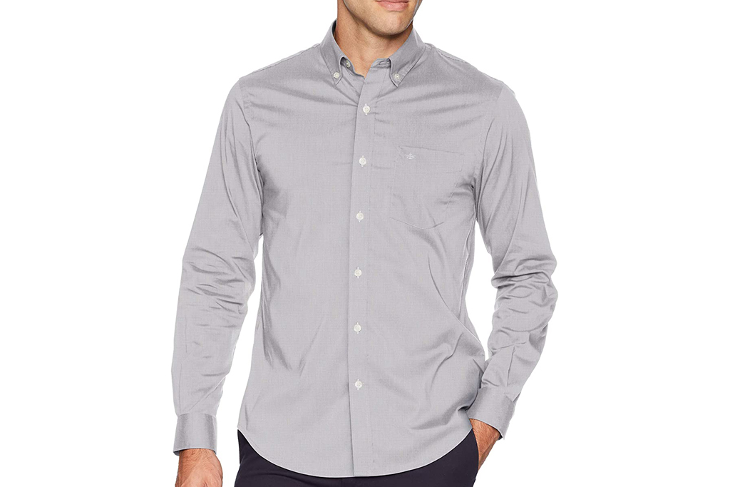 dockers, untucked shirt, button up shirt