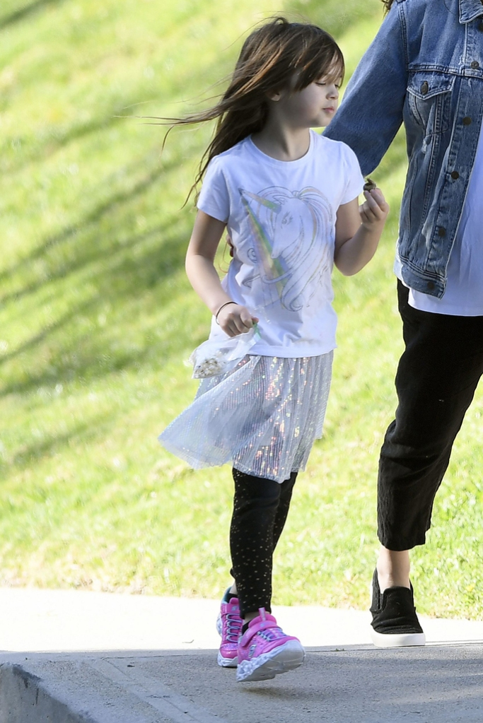 everly tatum, celebrity style, jenna dewan daughter, channing tatum daughter, unicorn t shirt, sparkly skirt, s sport by skechers sneakers, pink sneakers, los angeles, 2020