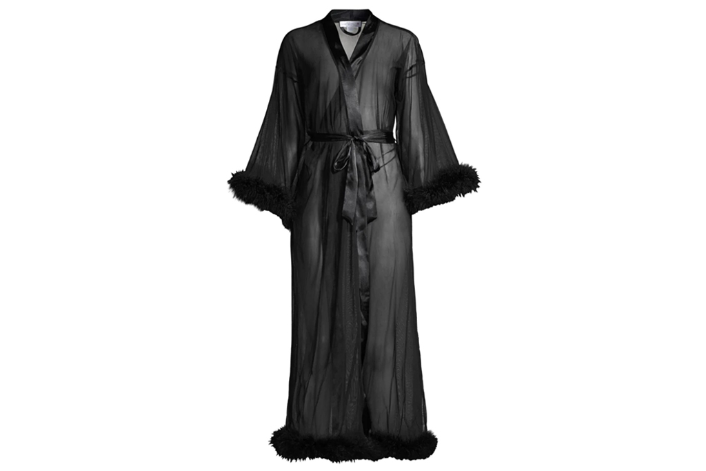 in bloom robe, black, feather