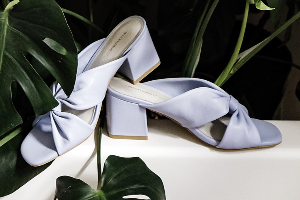 intentionally blank, hanna sandal, blue, haze