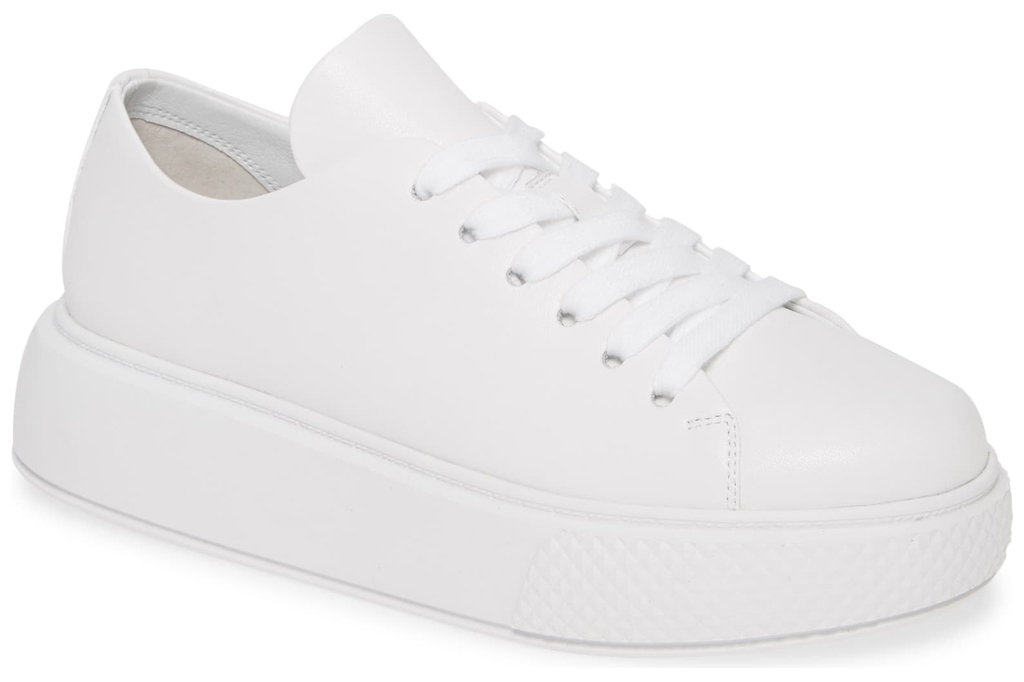 """JEFFREY CAMPBELL Entourage Low Top Platform Sneaker, Main, color, WHITE/ WHITE SIZE INFO True to size. DETAILS & CARE White-on-white leather low-tops have a clean, classic look, but a flared platform sole puts a trend-driven spin on the sporty style. Toe style: closed toe 2"""" heel; 1"""" platform (size 8.5) Leather upper and lining/synthetic sole Imported Women's Shoes Item #5953681 Free Shipping & returns See more (4) Entourage Low Top Platform Sneaker"""