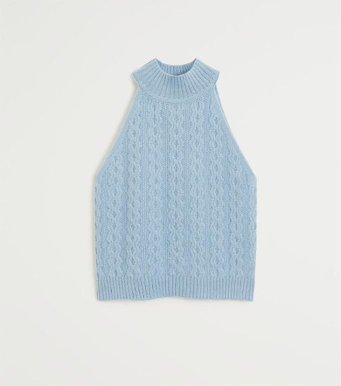 carrie bradshaw wfh style, mango knit top, blue tank top