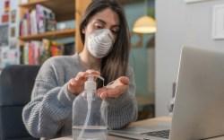 Mask, coronavirus, hand sanitizer