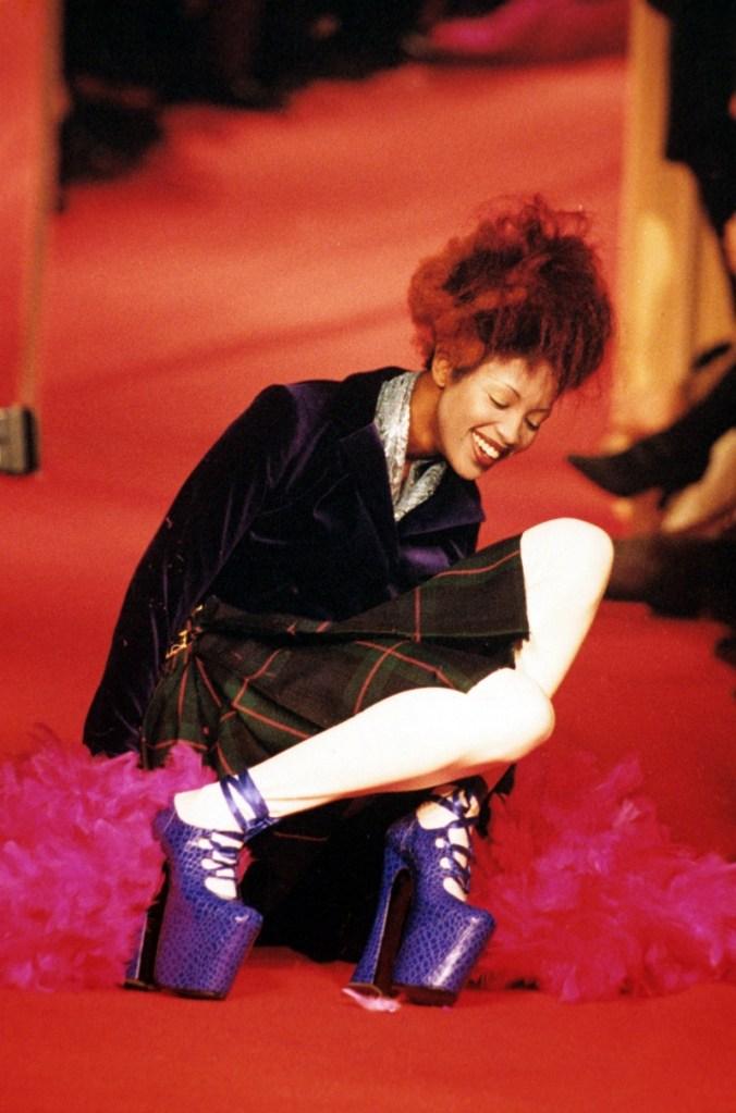 naomi campbell, vivienne westwood, fall, shoes, heels, purple
