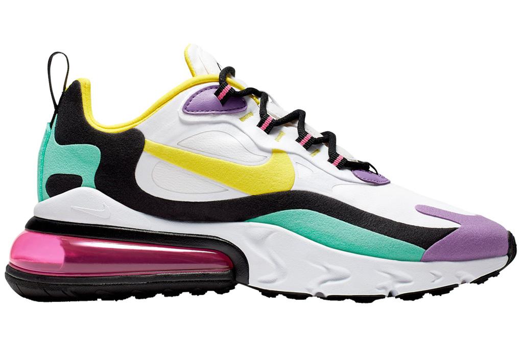 nike, air max 270 react, pink, purple, yellow, white