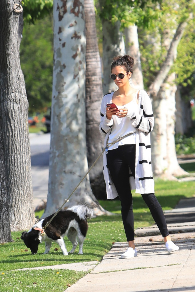 Nina Dobrev, striped cardigan, citizens for humanity jeans, skinny jeans, vans sneakers, vans classic slip-on, out with her dog in West Hollywood. 07 Apr 2020 Pictured: Nina Dobrev. Photo credit: MEGA TheMegaAgency.com +1 888 505 6342 (Mega Agency TagID: MEGA643291_015.jpg) [Photo via Mega Agency]Nina Dobrev out with her dog in West Hollywood. 07 Apr 2020 Pictured: Nina Dobrev. Photo credit: MEGA TheMegaAgency.com +1 888 505 6342 (Mega Agency TagID: MEGA643291_001.jpg) [Photo via Mega Agency]