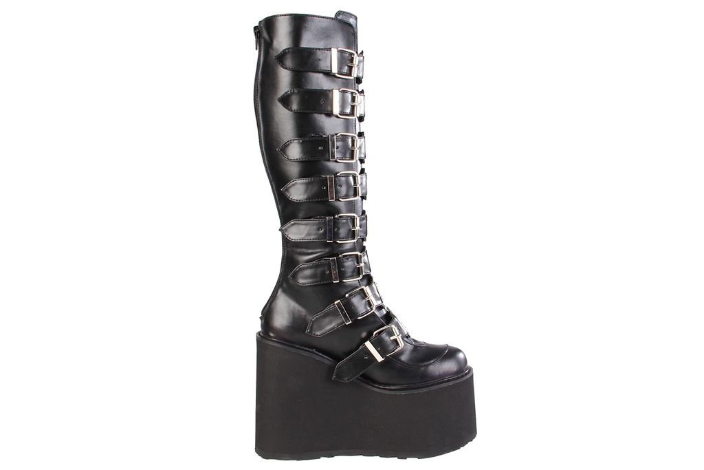 pleaser, platform boots, black