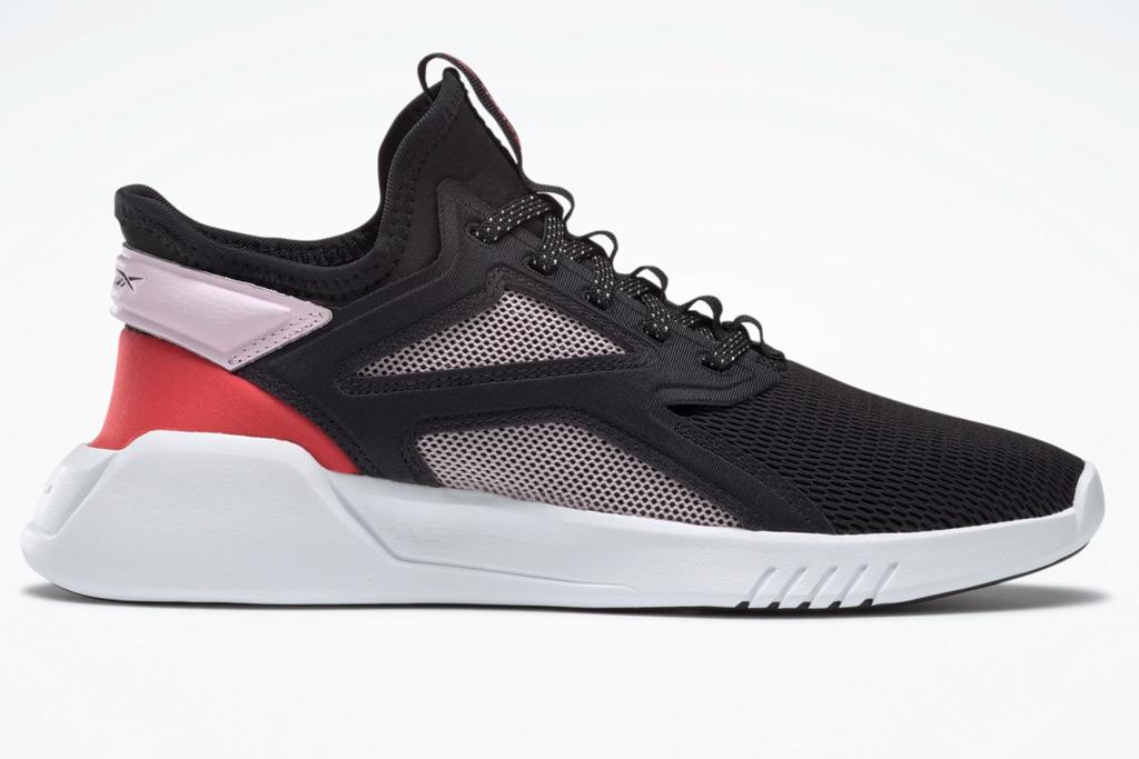 reebok, sneakers, black, white, red
